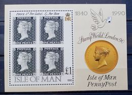 MAN -- IVERT HOJA BLOQUE Nº 13 - NUEVOS - 150 ANIV. DEL PRIMER SELLO - EN HOJA BLOQUE - Isle Of Man
