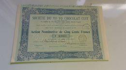 YO YO CHOCOLAT CUIT (bagnères De Luchon) 1912 - Actions & Titres