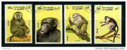 FUJEIRA  Set Of 4 Stamps: Monkeys - Monkeys