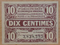 NORD Et PAS-DE-CALAIS ( 59 - 62  ) 10 Centimes Chambre De Commerce  1925 - Chamber Of Commerce