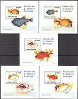 A{053} Sao Tome & Principe 2008 Fishes 5 S/S Deluxe MNH** - Sao Tome Et Principe