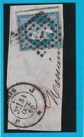 """N° 14 A -  OBLITERATION DE PARIS  """" J """" Bureau PL. De La BOURSE+ Cachet  - REF 123-413 + Variété - 1853-1860 Napoléon III"""