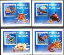 A{056} Sao Tome & Principe 2009 Fishes Shells 4 S/S Deluxe MNH** - Sao Tome Et Principe