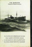 """CPA Bateau PAQUEBOT VAPEUR (Steamer Ferry Cruiser) """" S/S BATAVIA""""  Déchirure De Côté - Paquebote"""