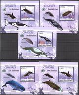 A{092} Comoros 2009 Whales 5 S/S Deluxe MNH** - Isole Comore (1975-...)