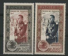 MONACO POSTE AERIENNE N° 49 + 50 Cote 23.7 € Neufs ** (MNH). Série Complète. Prince RAINIER III TB - Airmail
