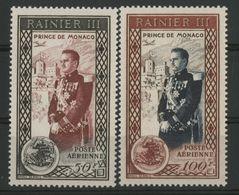 MONACO POSTE AERIENNE N° 49 + 50 Cote 12.6 € Neufs * (MH). Série Complète. Prince RAINIER III TB - Airmail