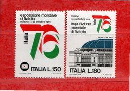 (Riz) Italia ** - 1976 -  ESPOSIZIONE MONDIALE Di FILATELIA.  Unif.1328-1329. - 6. 1946-.. República
