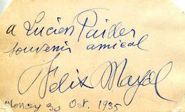 Autographe De FELIX MAYOL (1872-1941) CHANTEUR Français - Autógrafos