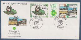 République Du Niger Enveloppe 1er Jour Philexafrique 3 Lomé 6 Mai 1985 - 2 Timbres Se Tenant Par Une Vignette - Niger (1960-...)