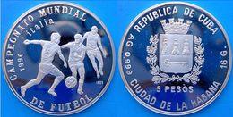 CARIBBEAN 5 P 1990 ARGENTO PROOF 999 SILVER MUNDIAL ITALIA 90 FOOTBALL CHAMPIONSHIP PESO 16g TITOLO 0,999 CONSERVAZIONE - Cuba