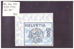 DECOUPE DU BLOC No 999 OBLITERE CENTRAL 1er JOUR - BRODERIE DE ST GALL - COTE: 200 CHF - Blokken