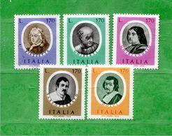(Riz) Italia ** - 1976 - ARTISTI ITALIANI .  Unif.1352 / 1356 . - 6. 1946-.. República