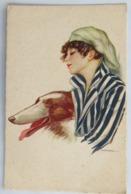 C. P. A. : Illustrateur NANNI : Jeune Fille Avec Tête De Chien, En 1918 - Nanni