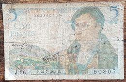Billet 5 Francs BERGER 22 7 1943 FRANCE J.26 - 1871-1952 Circulated During XXth