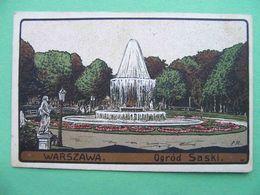 Russian Poland 1910s WARSAW, Warszawa. Garden Saski. Russian Postcard. - Polen