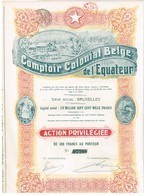 Action Ancienne - Comptoir Colonial Belge De L' Equateur -Titre De 1920 - N° 07203 - Afrique