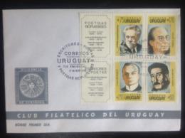 Uruguay, Uncirculated FDC, « Famous People »,« Writers », « Poets », 1990 - Uruguay