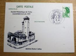 SOCIÉTÉ PHILATÉLIQUE DE VICHY A.G PREMIER JOUR 1989 ANCIENS BAINS CAILLOU Marcophilie Carte Postale Cachet Commémoratif - Ganzsachen