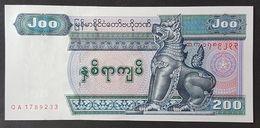 Myanmar 200 Kyats Banknote 1991-98 P.75b #QA17 89233 UNC - Myanmar