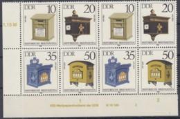 DDR 2924-2927, 2x Zus.-hängende 4erBlocks Mit WZd 621 DV, Historische Briefkästen 1985 - DDR