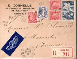 LETTRE RECOMMANDEE 1945 - BEL AFFRANCHISSEMENT - - Francia