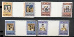 Antigua 1978 QEII Coronation 25th Anniv. Gutter Prs MUH - Antigua Et Barbuda (1981-...)