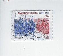 Centenaire De La Mobilisation Générale (2aôut 1914) 4889 Oblitéré 2014 - Francia