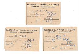 3 Feuillets BASCULE De L'HOTEL De La GARE - BROSSARD - St Germain-Lespinasse - France