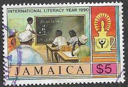 Jamaica  1990  Sc#734  $5  Literacy  Used   2016 Scott Value $6.25 - Jamaica (1962-...)