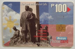 Bayantel Rizal Monument 100 Pesos Phonecard - Philippinen