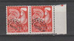 FRANCE / 1953-1959 / Y&T Préo N° 115 ** : Coq 30F Orange X 2 En Paire Dont 1 BdF D - 1953-1960