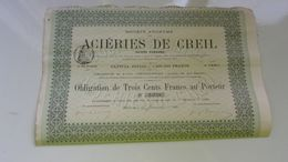 ACIERIES DE CREIL (aciers Ponsard)  1881 - Actions & Titres
