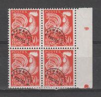 FRANCE / 1953-1959 / Y&T Préo N° 115 ** : Coq 30F Orange X 4 En Bloc Dont 2 BdF D - 1953-1960