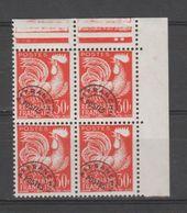 FRANCE / 1953-1959 / Y&T Préo N° 115 ** : Coq 30F Orange X 4 En CdF Sup D (oo) - 1953-1960