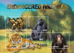 094. GAMBIA 2014 STAMP S/S ENDANGERED ANIMALS, TIGER, MONKEYS. MNH - Gambie (1965-...)