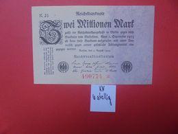 Reichsbanknote 2 MILLION MARK 1923 6 CHIFFRES+1 ETOILE CIRCULER (B.16) - [ 3] 1918-1933 : Repubblica  Di Weimar
