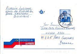 BELGIQUE ENTIER BANQUE DE LA POSTE POUR LA FRANCE - Stamped Stationery
