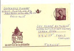 BELGIQUE ENTIER PRO-POST POUR LA FRANCE - Stamped Stationery