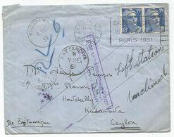 GANDON 15FR BLEU PAIRE LETTRE PARIS 3.VII .1951 POUR ILES BRITANNIQUES KUDAWEWA CEYLON DESTINATION RARE - 1945-54 Marianne Of Gandon