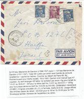 GANDON 15FR BLEU X2+10FR VIOLET LETTRE AVION PARIS 16.5.1952 POUR HAIFFA PALESTINE + CENSURE - 1945-54 Maríanne De Gandon