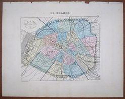GRAVURE DU PLAN DE PARIS ET SON MUR D'ENCEINTE . ATLAS MIGEON 1886 . - Geographical Maps