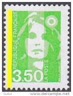 France Marianne Du Bicentenaire N° 2821,a ** Briat Le 3f50 Vert Jaune - Variété UNE BANDE De Phosphore - 1989-96 Bicentenial Marianne