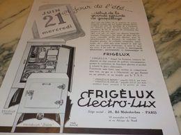ANCIENNE PUBLICITE 1 ER JOUR DE L ETE FRIGELUX ELECTRO LUX 1933 - Advertising