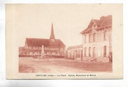 10 - LENTILLES ( Aube ) - La Place : Eglise, Monument Et Mairie - Carte De Couleur Ocre - Autres Communes