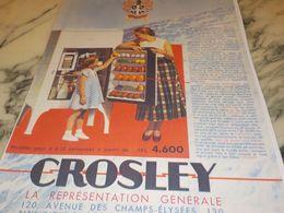 ANCIENNE PUBLICITE LE REFRIGIRATEUR CROSLEY 1933 - Advertising