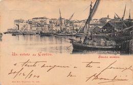 """010767 """"UN SALUTO DA CORFOU - STRADA MASINA""""  ANIMATA, BARCHE.  CART  SPED 1903 - Grecia"""