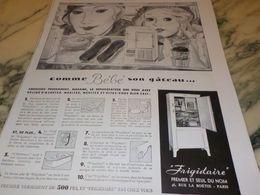 ANCIENNE PUBLICITE COMME BEBE SON GATEAU FRIGIDAIRE 1933 - Advertising