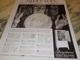 ANCIENNE PUBLICITE MEFIEZ VOUS  FRIGIDAIRE 1933 - Advertising