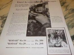 ANCIENNE PUBLICITE FIXEZ LES SCENE KODAK SIX-16  1933 - Photography